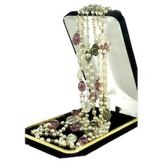 Rare Hattie Carnegie Venetian Crackled Glass Pearl Necklace Flapper