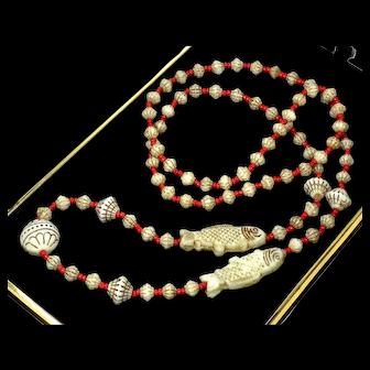 Art Deco Neiger Czech Egyptian Revival Uranium Glass Necklace