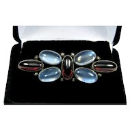 Arts And Crafts Moon Stone Garnet Sterling Brooch Pin