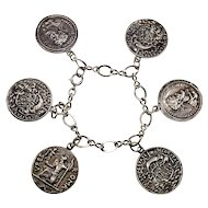 Guglielmo Cini Sterling Ancient Rome Coin US Medal Replicas Chain Bracelet