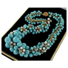 Vintage 40's Frank Hess For Miriam Haskell Turquoise Glass Brass Necklace