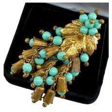 Frank Hess For Miriam Haskell Turquoise Glass Brass Dress Clip C. 40's
