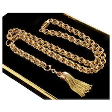 Antique Victorian 10K Gold Tassel Fancy Link Chain Necklace