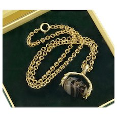 Antique Georgian14K Gold 2 Snakes Banded Agate Spinner Victorian Fancy Link Chain Necklace