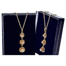 Edwardian Old Mine Diamonds 14K Rose Gold Pendant Necklace