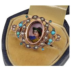 Antique Victorian 9K Hand Painted Portrait Turquoise Pearl Brooch Pin