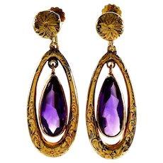 Antique Victorian 14K Gold Amethyst Dangle Earrings