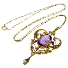 Antique Victorian 9K Gold Amethyst Pearl Pendant 14K chain Necklace