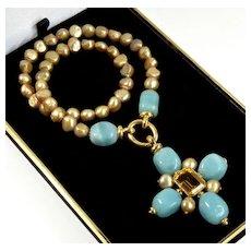 Designer 18K Amazonite Citrine Tahiti Pearl Cross Pendant Enhancer Necklace