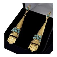 Antique Art Deco Etruscan Revival 14K Gold Turquoise Earrings