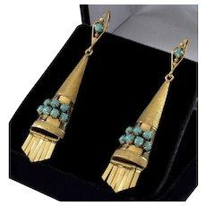 Antique Art Deco Etruscan Revival 14K Gold Turquoise Earrings