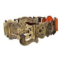 Antique Victorian 9K Gold Scottish Agate Buckle Bracelet C. 1860's