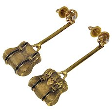 Antique Victorian 14K Diamond Enamel Purse Earrings