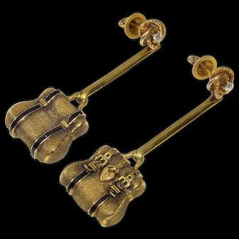 Antique Victorian 14K Diamond Enamel Purse Earrings