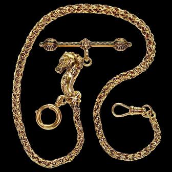 Antique Victorian 14K Gold Enamel Horse Fob Albert Watch Chain