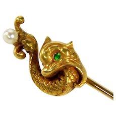 Antique Art Nouveau 14K Gold Dophin Stick Pin Demantoid Garnet Pearl