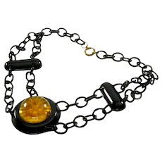 Art Deco Reverse Carved Apple Juice & Black Bakelite Celluloid Chain Necklace