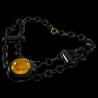 Art Deco Reverse Carved Apple Juice & Black Bakelite Celluloid Chain Necklace