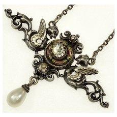 Antique Art Nouveau Gold Silver Diamond Enamel Gargoyles Griffins Pendant Necklace