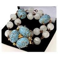 Vintage Hattie Carnegie Murano Venetian Robin's Egg Glass Bracelet C. 50's