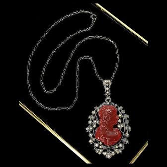 Antique Victorian French Pate de Verre Glass Paste Sterling Cameo Pendant Necklace