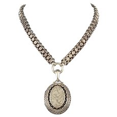 Victorian British Sterling Engraved Locket Star Chain Collar Necklace