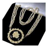 Antique Georgian Seed Pearl 14K Gold Onyx Front Clasp Necklace