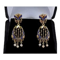Antique Victorian Champleve Enamel 14K Gold Pearls Dangle Earrings