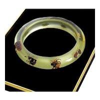 Vintage Real Bugs Beetles Scorpion Lucite Bangle Bracelet