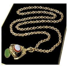 Rare Victorian 10K Gold Fancy Link Chain Agate Spinner Locket Fob Necklace  C. 1860