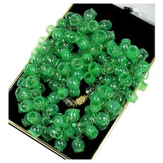 Louis Rousselet French Emerald Green Glass Chimes Bells Necklace C. 1920's