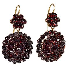 Victorian Bohemian Garnet Gold Filled Dangle Earrings 14K Gold Hooks