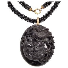 Antique Victorian 14K Gutta Percha Vulcanite Birds In The Nest Locket Woven French Jet Seed Bead Necklace