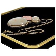 Vintage Large Angel Skin Coral 12K Gold Lavaliere Necklace by Italian Designer Gori & Zucchini