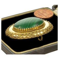 Victorian Etruscan Revival Russian Malachite Locket Pin Brooch