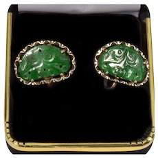 Antique Chinese Carved Jadeite Jade Silver Earrings C. 1900's