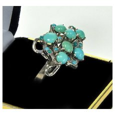 Art Deco Modernist Natural Turquoise Silver Ring