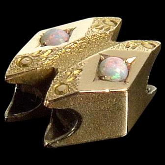Antique Victorian 14K Rose Gold Opal Slide Charm For Bracelet