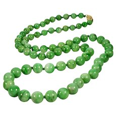 "Antique Art Deco 14K Apple Green Jadeite Jade Bead Necklace 24"""