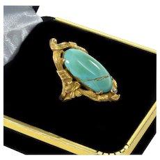 Antique Art Nouveau 14K Turquoise Diamond Ring Size 4.5
