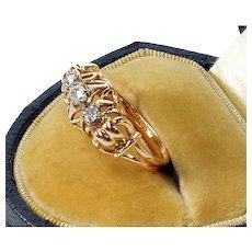 Antique Victorian French 18K Gold Ring Old Mine Cut Diamonds Eagle Hallmark
