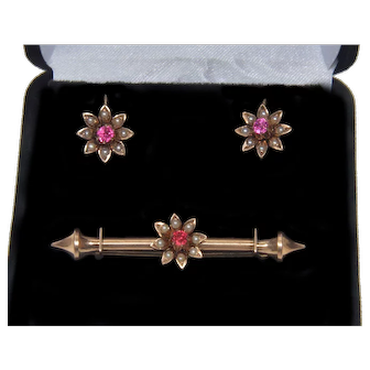 Antique Victorian 9K Gold Spinel Seed Pearl Earrings Brooch