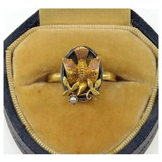 Antique Victorian 18K 14K Gold Pearl Bird Ring