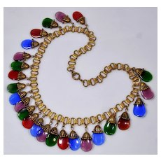Art Deco Early Miriam Haskell Gripoix Glass Book Chain Necklace