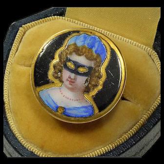 Antique Georgian 14K Gold Enamel Masked Face Ring Size 7