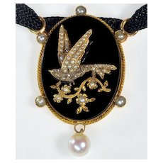 Antique Victorian Bird 18K Gold Diamond Seed Pearl Onyx Pendant Necklace