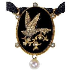 Antique Victorian Bird 18K Gold Diamond Seed Pearl Onyx Pendant Necklace