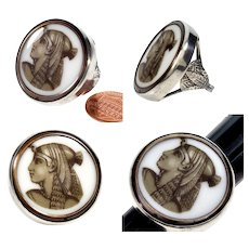 Antique French Art & Crafts Egyptian Revival Cleopatra Sepia Enamel Cameo Sterling Ring Size 7