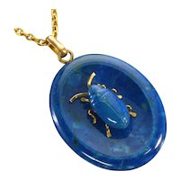 Antique Victorian Blue Agate Bug Beetle Insect Pendant Necklace