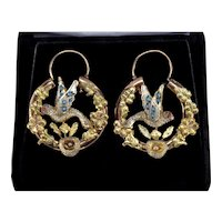 Antique Victorian 14K Gold Carved Bird Hoop Earrings